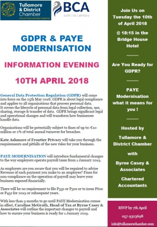 GDPR Information Evening - with Byrne Casey & Associates Chartered Accounts